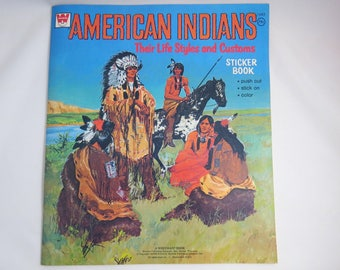 Indian Sticker Book, Vintage 1973  Whitman, Educational, Native American Indians Life Styles and Customs, Scenes to Color