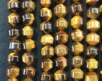 Natural Tiger Eye Stone Lantern Beads,Bicone Beads 8x8mm- 50pcs/strand