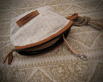 Hand Woven Fair trade Hemp and Nettle fabric small cosmetic accessories bag coin purse wallet  with key holder Earthy Natural