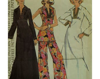 Boho Tunic, Dress Pattern, Fitted Bodice, Empire Waist, Slit Neck, Collar, Sleeveless/Bell Sleeves, Long/Short, McCalls No. 4295 Size 16