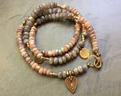 Labradorite and sunstone LOTUS bracelet