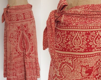 1970's Red Indian Cotton Wrap Skirt Size Large XL by Maeberry Vintage