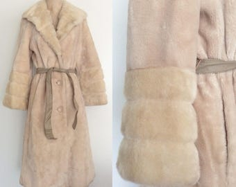 1970's Ivory Faux Fur Belted Trench Coat Long Jacket Size Small by Maeberry Vintage