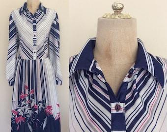 1970's Striped & Boarder Print Polyester Dress Plus Size XL XXL by Maeberry Vintage