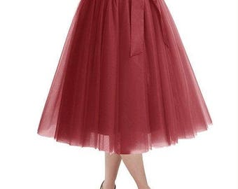 25% Off Sale Knee Length Tulle Skirt Tutu Skirt Evening Party Gown Prom Formal Skirt/ 10 colors