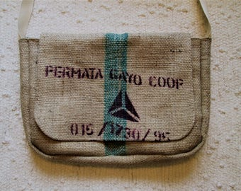 Upcycled Coffee Sack Eco Friendly Rustic Messenger Shoulder Bag
