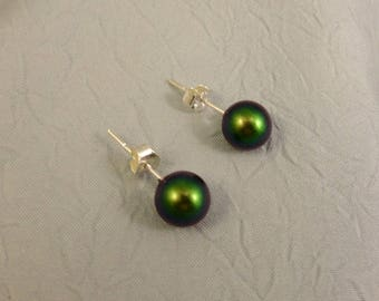 Green Glass Pearl 8mm Earrings on Silver Posts