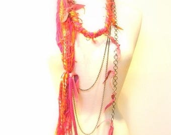 CIJ SALE Pink  Fiber Statement Necklace, Belt, Body Jewelry, Cotton Yarn, Chains, Pink, Orange Suede Accent, OOAK