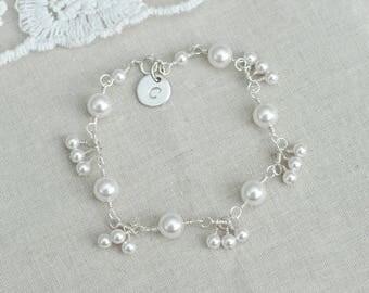 Initial Bracelet, Initial Pearl Bracelet, Personalized Bridesmaid Bracelet, Sterling Silver Pearl and Sterling Silver Charm Initial Bracelet