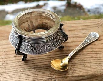 Vintage Caviar Cellar / Salt Cellar / Soviet Union / Russian / Silver / Retro Serving / Mid Century Modern / Single Serving / Salt Dip /