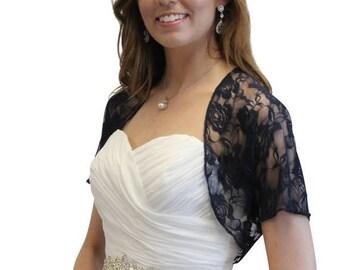 Summer Sale Bridal Shrug, Navy Blue Lace Jacket, Wedding Lace Jacket 720ROS-NBLUE