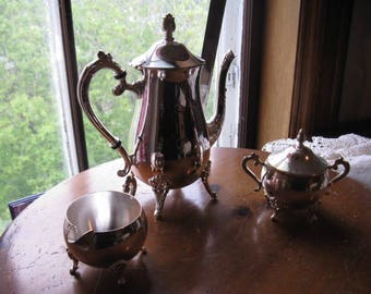 Vintage Silver Plate Tea Set Teapot Sugar Creamer Silverplated Cottage Chic