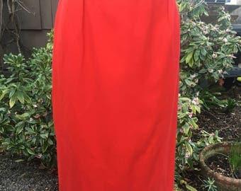 Vintage Pendleton Wool Bright Red Pencil Skirt