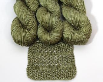 Hand dyed yarn 'Bay Leaf 'silk merino DK, Cameron, 231 yards, olive green