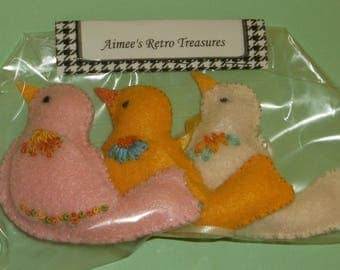 Hand Crafted Felt Embroidered Bird Ornaments - Vanilla Yellow Pink