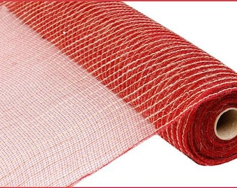21 Inch Burgundy Red Natural Jute Poly Mesh RY900505, Deco Mesh Supplies