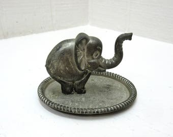 Vintage Elephant Ring Holder Silver Plated Ring Tree