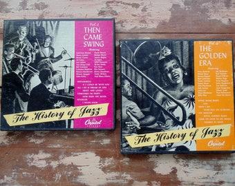 sale. History of JAZZ.  Jazz. Music. Jazz. Records. BLUES. Swing. Chicagoans. Benny Goodman. 45 rpm. boxes. vintage 1950s. record lot.