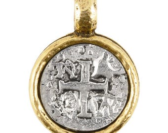 Pewter-21mm Ancient Cross in Bezel Pendant-Antique Silver Over Gold-Quantity 1