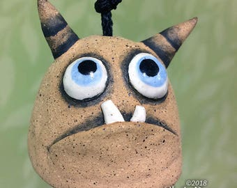 "Monster Bell ""Cindy""- handmade ceramic windchime tentacles fun garden art gift"