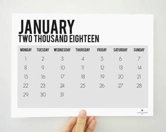 Two Thousand Eighteen Grey Calendar, Printable Calendar, Monthly Calendar, 2018 Calendar, 2018 Planner, Wall Calendar, Student Gift, For Her