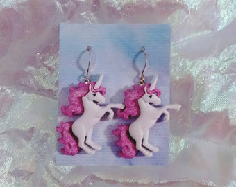 Unicorns fantasy mythical Renaissance Medieval creatures earrings Brockus Creations