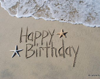 HAPPY BIRTHDAY, Writing in the Sand, Instant Download