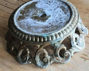 Old Ornate Brass Lamp Base or Bobeche - Assemblage Supply - Restoration Lamp Tools