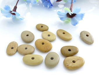 Center Drilled Rare Beach Stones, Multicolor Mix Oval Pebbles, Bulk Jewelry Supplies, Flat Stones, Natural Pebbles Stones