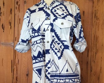 Vintage 80's Southwest Print Slouch Button Shirt