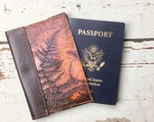 Handmade Leather Passport Holder Wallet Brown Embossed Fern Cover