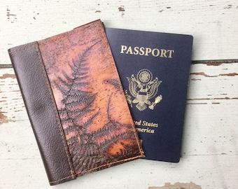 NEW Leather Passport Holder Wallet Embossed Ferns