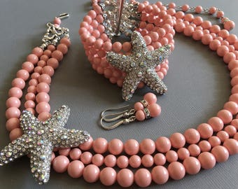 COMPLETE Beach wedding Jewelry Set Pearl Backdrop Necklace Bracelet and Earrings in Pink Coral with Starfish brooch Swarovski pearls bridal
