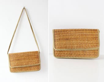Straw Clutch Purse • 70s Purse • Straw Crossbody Bag • Vintage Straw Purse • Vintage Crossbody Bag • Convertible Bag • Sumer Purse | B912