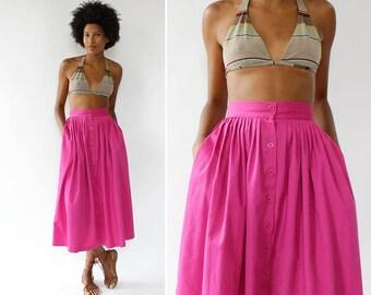 Vintage Pleated Skirt XS • 80s Midi Skirt • Pink Full Skirt with Pockets • Button Up Skirt • 80s Skirt • Pink Midi Skirt | SK772
