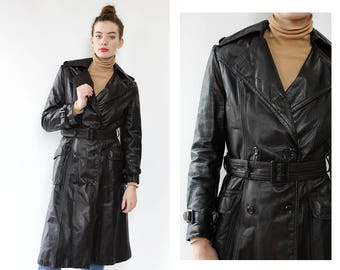 Vintage Leather Trench Coat S/M • 70s Leather Trench Coat • Brown Leather Trench Coat • 70s Leather Jacket • Brown Leather Coat  | O489