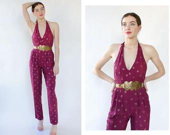 70s Disco Jumpsuit XS/S • Glitter Jumpsuit • Purple Jumpsuit • Halter Jumpsuit • 70s Jumpsuit • Vintage Jumpsuit • Sexy Jumpsuit   D1750
