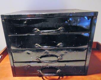 Vintage  Metal Box with Drawers