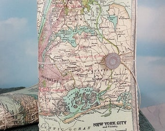 Travel Sale New York City Map Travel Journal with Antique 1911 NYC and Vicinity Detailed Map Cover