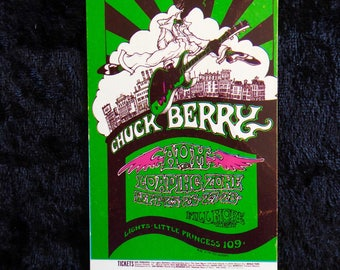 CHUCK BERRY  Authentic Fillmore Concert Ticket 1968 Greg Irons 1969