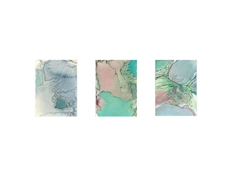 Abstract watercolor print, small modern wall art, turquoise aqua pink, Austral Triptych