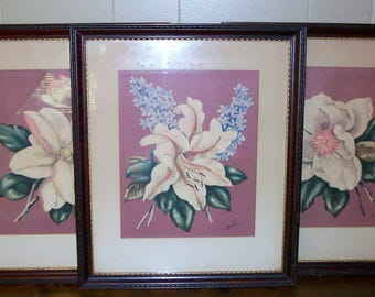 Set of 3 Vintage Framed Magnolia Prints by Rene Wall Decor Cottage Decor