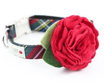 Holiday Black Tartan Dog Collar with Flower