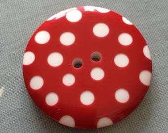 Giant red spotty button 50mm