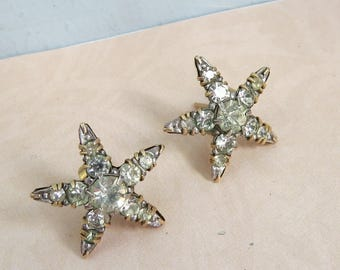 Vintage 9ct (9kt) Gold Paste 1930s Star Stud EARRINGS