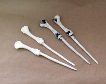 TAXIDERMY replica resin tibia bone hairsticks - 1 pair