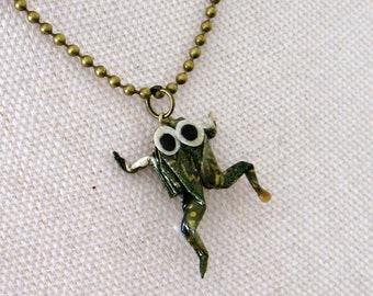 origami green frog necklace