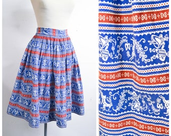 1940s Blue red stripe novelty alpine dancing people print cotton skirt / 40s pleated full stag deer German Bavarian printed day skirt - M L