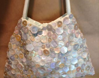 Vintage Mother of Pearl and Mint Green Silk Purse Shoulder Bag, 1970s