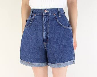VINTAGE Chic Denim Shorts Dark Blue Jeans High Waist Cuffed